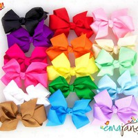 Ema Jane - Cute Set of 16 Assorted Boutique Quality 'Ema Jane' Grosgrain Baby Hair Bow Clips (Headb
