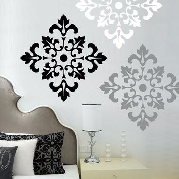 Damask Pattern - Vinyl Wall Decal  - large wall stickers set of 12