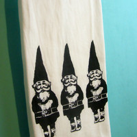 Gnome Tea Towel CUTE screenprint holiday decor retro stocking stuffer black retro kitchen Indie Housewares