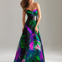 Green & Purple Print Charmeuse Satin Strapless Beaded Empire Waist Prom Gown - Unique Vintage