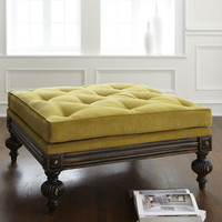 """Tilly"" Tufted Pillow-Top Ottoman - Horchow"