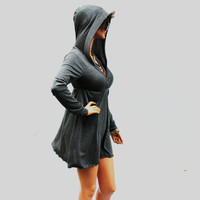Grey Dress // Hoodie dress// party dress//