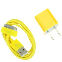 EarlyBirdSavings 0.9M 3Ft USB Sync Data Charging Cable + Wall Charger Yellow for iPod iPhone 4 4S