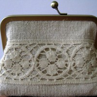 French Grain Sack Clutch purse by BagNoir on Etsy