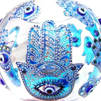 Hand Painted Glass Bowl, Khamsa on Luulla