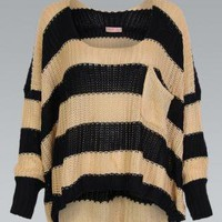 Asymmetric Black and Mocha Striped Oversize Knit Sweater