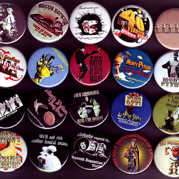 Set of 20  Monty Python pins/buttons/badges by ButtonNinja on Etsy
