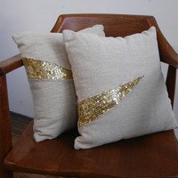 Natural linen denim and gold sequin glitter pillow