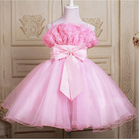 pink Flower girl WEDDING dress princess BIRTHDAY party skirt satin tulle BOWKNOT