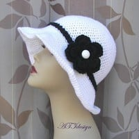 Black White Hand Crochet Hat by ATIdesign on Etsy