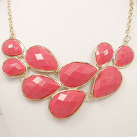 High Quality Gold Tone Statement Necklace, Pink Bib Bubble Necklace, Cluster Necklace, Chunky Necklace