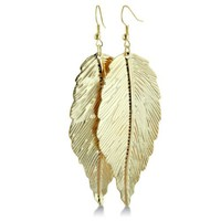 Gold Tone Lightweight Dangle Leaf Earrings. 3 inches long