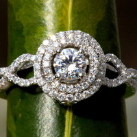 Diamond Engagement Ring -14K white gold -  chunky - 1.10 carat Round - Double Halo - Pave - Antique Style - Weddings- Luxury- Brides - bp007