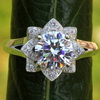 UNIQUE Flower Rose Lotus Diamond Engagement or Right Hand Ring Setting Semi mount - Plain band -fL02