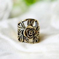 Retro Style 5 Pieces Engraving Rose Shape Finger Rings For Women