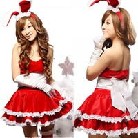Charming Christmas Bunny Cosplay Women Costume Set Red Free Shipping