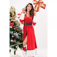 Christmas Costume Fitted Collar Striped Long Cosplay Dress Outfit Free Shipping