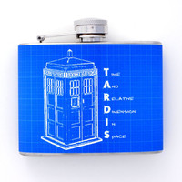 Funny Doctor Who TARDIS Flask Handmade by Kitschville (4 Ounce)