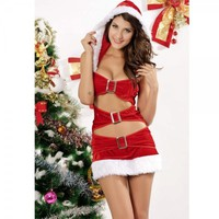 Christmas Cutie Adult Women Sexy Costume Dress with Hat Free Shipping