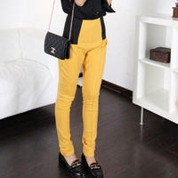 Elastic High Waist Color Blocking Skinny Pants,Cheap in Wendybox.com