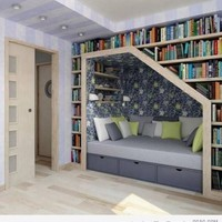 architecture, bed, bedroom, books, cozy - inspiring picture on Favim.com