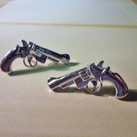 Pistol Earrings by PaperBiscuit on Etsy