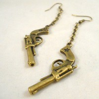 Antique Brass Gun Pistol Revolver Earrings with by BallyhooJewelry