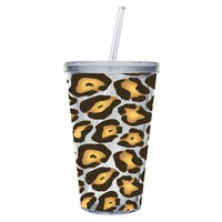 Cypress Home 17-Ounce Insulated Cup With Lid and Straw, Leopard: Amazon.com: Kitchen &amp; Dining