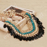 Fashion Lots layered Gem Beads Tassel Bib Choker Vintage Gold Necklace Collar