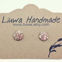 Champagne Glitter Flat Post Earrings, Polymer Clay Studs, Stainless Surgical Steel Posts