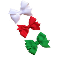 Set of three boutique bows - 3 inch hair bows, Christmas hair bow