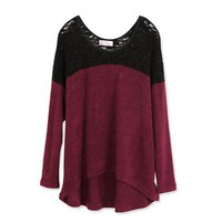 (TOLLS1024) Lace Shoulder Knit Top, iAnyWear