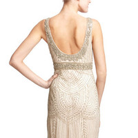 ideeli | SUE WONG V-Neck Beaded Trim Dress