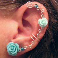 Non Pierced Ear Cuff  &quot;Roses are Aqua&quot; Cartilage Conch Cuff Silver tone Prom WHITE Roses are on Back Order