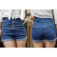 Women's Blue High waist Rise Denim Cuffed Hot Jeans pants Vintage Shorts