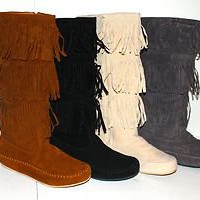 New Fringe Moccasin Mid Calf Flat Womens Boots Round Toe Black Camel Beige Grey