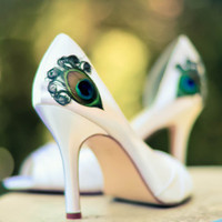Ivory Satin Peep Toe Pleated Pump