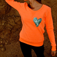 The &quot;Dazzle Pocket&quot; Sweatshirt -  w/Sequin Heart Chest Pocket