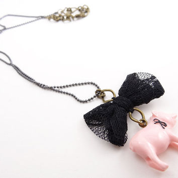 Pink pig charm necklace w black ribbon from lovelifexr15 for Ribbon tie necklace jewelry