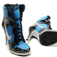 Hot Popular Cheap Blue Black White Nike Dunk High Heels For Women