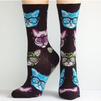 Amazon.com: Socksmith Women&#x27;s Black Kittenster Crew Socks: Clothing