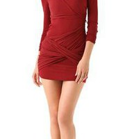 Alice and Olivia Red Long Sleeve Goddess Dress