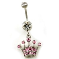 Light Pink Tiara Crown Dangle Belly Button Naval Navel Rings High Polish Silver Tone Body Fashion J