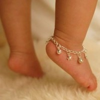 Sterling Silver Jingle Bells & Stars Anklet  Baby by danitaapple