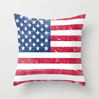 Vintage USA Flag Throw Pillow by Rex Lambo | Society6