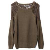 Montage Lace Scoop Neck Khaki Jumper [NCSWL0099] - $36.99 :