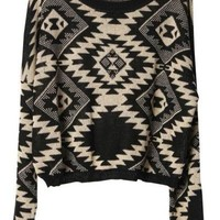 Geometric pattern round neck Bat-sleeved sweater:Buy at Sheinside