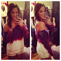 Studded Dip Dyed Ombré Purple and Pink Off the Shoulder Sweatshirt