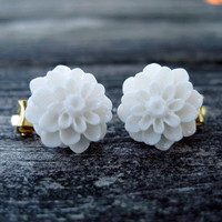 White Dahlia Clip on Earrings