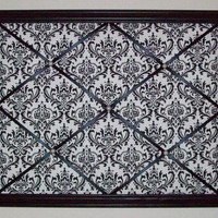 Black &amp; White Damask Print fabric ~ Wooden Framed French Memo Board by ToileChicBoutique